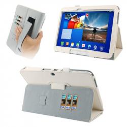 Housse Samsung Galaxy Tab 3 P5200 étui 10.1 pouces support Blanc