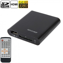 Mini Lecteur Multimédia Full HD 1080p Support Carte SD Disque Flash USB Sortie HDMI/VGA