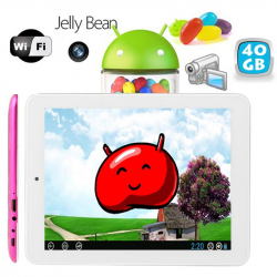 Tablette tactile Android 8 pouces HDMI USB 40 Go Rose