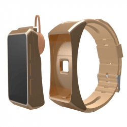 Bracelet Sport iPhone Android Montre Connectée Oreillette Bluetooth Or