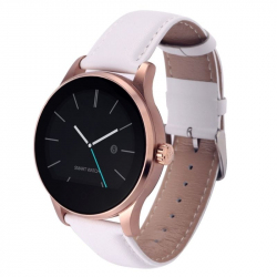 Montre Connectée Bluetooth Android iPhone iOS Smartwatch Cardio Waterproof Bracelet Cuir Blanc