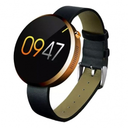 Montre Cardio Smartwatch Cuir Bluetooth Podomètre Appels SMS Or - Montre connectée - www.yonis-shop.com