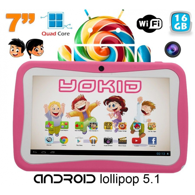 Tablette tactile enfant YOKID quad core 7 pouces Android 5.1 Rose 16Go - Tablette tactile enfant - www.yonis-shop.com