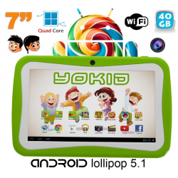 Tablette tactile enfant YOKID 7 pouces quad core android 5.1 Vert 40Go - Tablette tactile enfant - www.yonis-shop.com