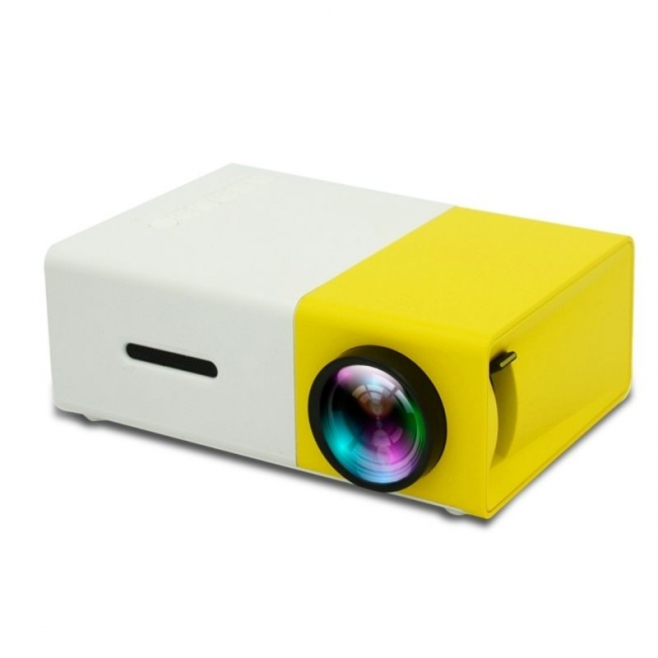mini vid oprojecteur portable led 400 lumens hdmi micro sd usb jaune. Black Bedroom Furniture Sets. Home Design Ideas