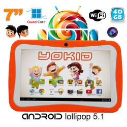 Tablette tactile enfant YOKID 7 pouces quad core Android 5.1 Orange 40Go
