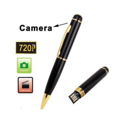 Stylo camera espion HD 720p mini appareil photo USB Noir et Or