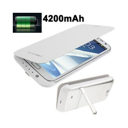 Batterie coque Samsung Galaxy Note 2 chargeur 4200 mah blanc