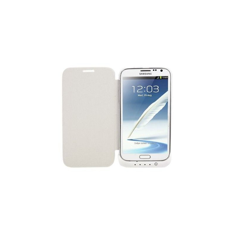batterie coque samsung galaxy note 2 chargeur 4200 mah blanc. Black Bedroom Furniture Sets. Home Design Ideas
