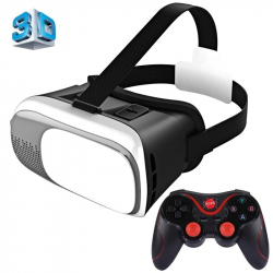 """Casque Realite Virtuel Smartphone Android Iphone 3.5-6\\"""" Films 3D Blanc - Casque VR - www.yonis-shop.com"""