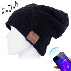 Bonnet Connecté iPhone Android Ecouteur Sans Fil Appel Main Libre Noir