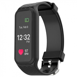 Smartwatch Android iPhone Montre connectée Sport Cardio Réveil Noir - Bracelet connecté - www.yonis-shop.com