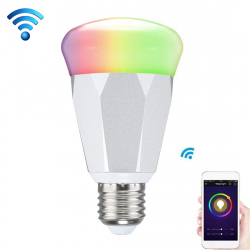 Ampoule LED Connectée WiFi Compatible Amazon Echo Alexa Google Home 7W 600 Lm Variateur RGB Argent - Ampoule Connectée - www....