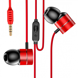 Écouteurs Intra-Auriculaires 1.2 m Jack 3.5mm Mains Libres iPhone iPad Smartphone Tablette Rouge