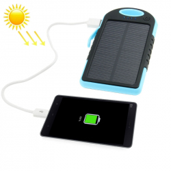 Batterie Externe 5000 mAh Solaire Antichoc Waterproof Power Bank Universelle Smartphone Tablette Bleu