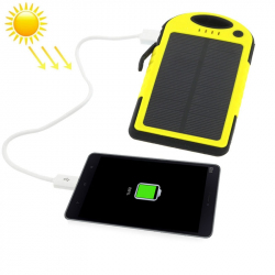 Batterie Externe 5000 mAh Solaire Antichoc Waterproof Power Bank Universelle Smartphone Tablette Jaune