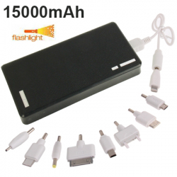 Batterie Externe 15 000 mAh Power Bank Universelle Double Port USB Smartphone Tablette Noir