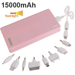 Batterie Externe 15 000 mAh Power Bank Universelle Double Port USB Smartphone Tablette Rose