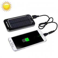 Batterie Solaire 3500 mAh Power Bank Universelle USB Batterie Externe Smartphone Tablette Noir