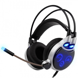 Casque Gamer PC Windows Mac OS PS4 Oreillettes Filaire USB Surround 7.1 Microphone LED 30 mW Argent Noir - Casque Gamer - www...