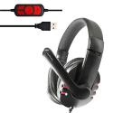 OVLENG Q7 Universal Stereo Headset with Mic & Volume Control Key for All Audio Devices, Cable Length: 2m (Black + Red) - A co...