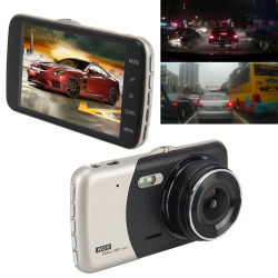 4 inch HD Video Recording HD Display Car Recorder with Separate F2.0 Camera, 12MP 170 Degrees Wide-angle/ Rear View Loop Reco...