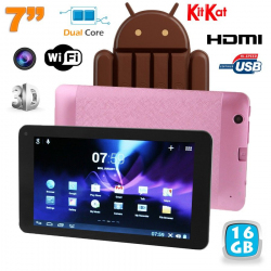 Tablette tactile Android 4.4 KitKat 7 pouces Dual Core Rose 16 Go
