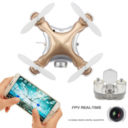 Mini Drone Compatible Android iOS Quadcopter Radiocommandé 4 Hélices Gyroscope 6 Axes Caméra 0.3 MP Or