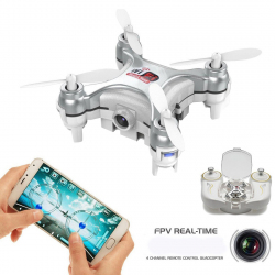 Mini Drone Compatible Android iOS Quadcopter Radiocommandé 4 Hélices Gyroscope 6 Axes Caméra 0.3 MP Argent - Drone - www.yoni...