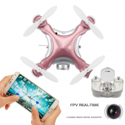 Mini Drone Compatible Android iOS Quadcopter Radiocommandé 4 Hélices Gyroscope 6 Axes Caméra 0.3 MP Or Rose