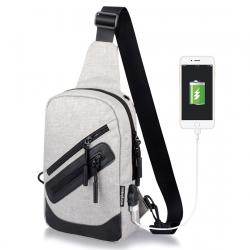 Sac à Dos Bandoulière Multifonctionnel Charge USB Externe Étanche Homme Femme Gris - Sac à dos ordinateur - www.yonis-shop.com