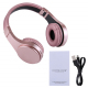 Casque Bluetooth Sans Fil Stéréo iPhone Android Smartphone Mains Libres MP3 Carte Micro SD Rose - Casque Bluetooth - www.yoni...