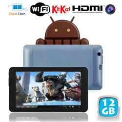 Tablette tactile Android 4.4 KitKat 7 pouces Dual Core Bleu 12 Go