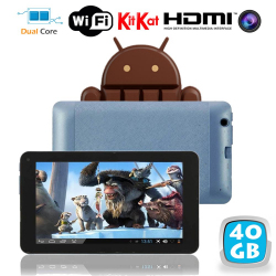 Tablette tactile Android 4.4 KitKat 7 pouces Dual Core Bleu 40 Go
