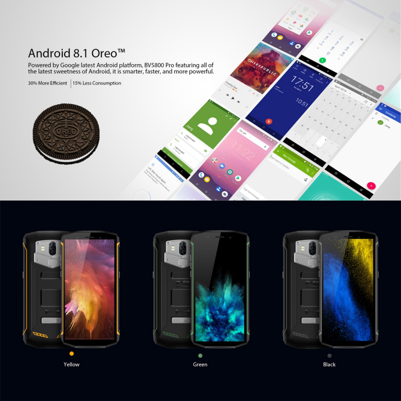 smartphone incassable android 8 1 recharge sans fil 5 5 pouces 4g vert. Black Bedroom Furniture Sets. Home Design Ideas