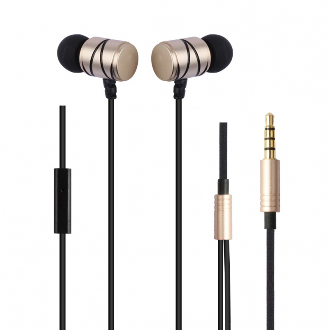 Écouteurs Intra-Auriculaires Kit Mains Libres Micro Universel iPhone Samsung Huawei Smartphone Tablette Or - Ecouteurs - www....