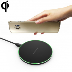Chargeur Sans-Fil Qi Charge Rapide Induction Universel Micro USB LED Ultra-fin Noir