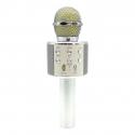 Microphone Android iOS Karaoké Bluetooth Fréquence 10 kHz Puissance 5W Enregistreur Argent - Microphone - www.yonis-shop.com