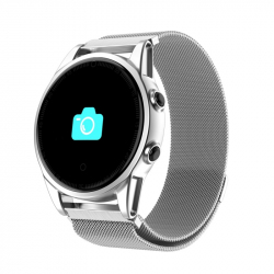 Montre Connectée iPhone Android Smartwatch Cardio 0.95 Pouce OLED Bluetooth Sportif Argent