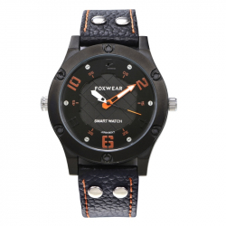 Montre Connectée iOS Android Bracelet Connecté Bluetooth 4.0 Waterproof IP67 USB Cuir Noir