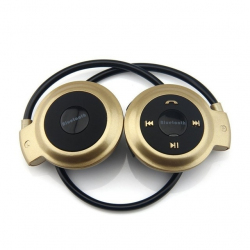 Casque Bluetooth Lecteur MP3 Sans Fil Radio FM Autonomie 10 h Carte Micro Sd Or
