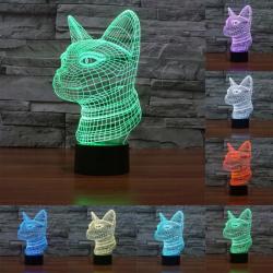 Lampe 3D Côté Visage Chat Style 7 Couleur Décoloration Creative Visual Stéréo 3D Tactile Commutateur LED Lumière Bureau de Nu...