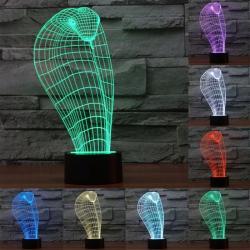 Lampe Créative 3D Cobra 7 Couleurs LED Tactile 0.5W USB Piles AA