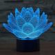 Lampe 3D Lotus Style 7 Couleur Décoloration Creative Visual Stéréo 3D Tactile Commutateur LED Lumière Bureau de Nuit - A copi...