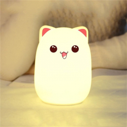 Veilleuse Rechargeable Lampe Créative Silicone Douce Forme de Chat Prise Micro USB 3W Rose