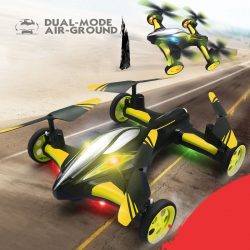 Drone jaune JJR / C H23 Flying & Car Headless 2.4GHz 6 Axe RC Quadcopter avec Télécommande - Drone - www.yonis-shop.com
