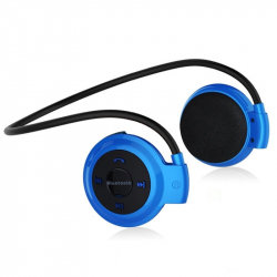 Casque Bluetooth Lecteur MP3 Sans Fil Radio FM Autonomie 10 h Carte Micro SD Bleu