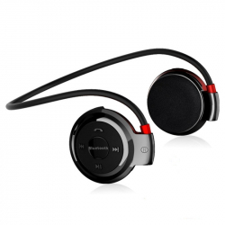 Casque Bluetooth Lecteur MP3 Sans Fil Radio FM Autonomie 10 h Carte Micro SD Noir