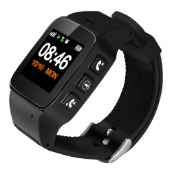 "Montre traceur GPS Enfant Android IOS LBS 1.22"" IPS Securite Localisation Noir"