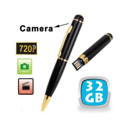 Stylo camera espion HD 720p mini appareil photo USB Noir et Or 32 Go